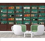 Generic Arte della parete 3dCarta da parati personalizzata per fotolibri 3D studio biblioteca murale sfondo pittura murale libreria libreria scaffale libro murale carta da parati-350cmx245cm