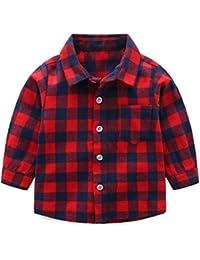 Niños Bebé Camisa de Cuadros Manga Larga Camiseta Algodón Shirt Tops Blusa 0-3 Años