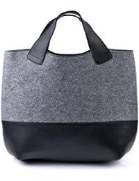 FEYNSINN sac à main FREYA - XL - porte-monnaie à main, sac à main - sac des dames noir & feutre gris en feutre & cuir