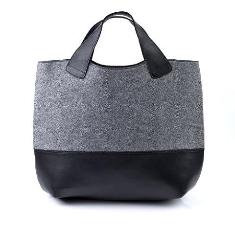 FEYNSINN XL tote bag - top-handle bag FREYA - handbag black-grey felt & leather