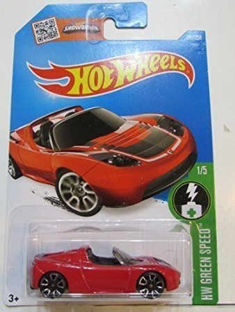 2016 Hot Wheels Tesla Roadster in Protective Case Red A Case HW Green Speed by Hot Wheels