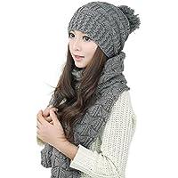 Gorras Con Bufanda Mujer Invierno,TININNA Cálido Moda Sombreros Beanie Scarf set de Punto para Mujer Chicas-Gris Oscuro