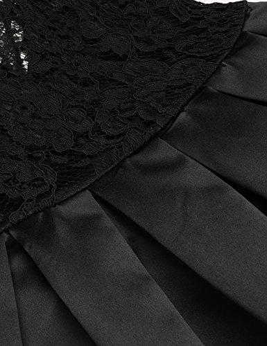 Teamyy Femmes Robe Col-V Manches Demi Robe En Dentelle Florale Noir