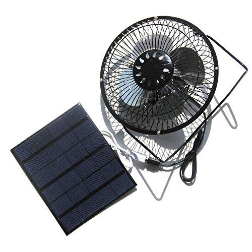 NUZAMAS 3.5W 6V Solar Panel Powered 6 Zoll Lüfter für Camping Caravan Yacht Gewächshaus Hund Haus...