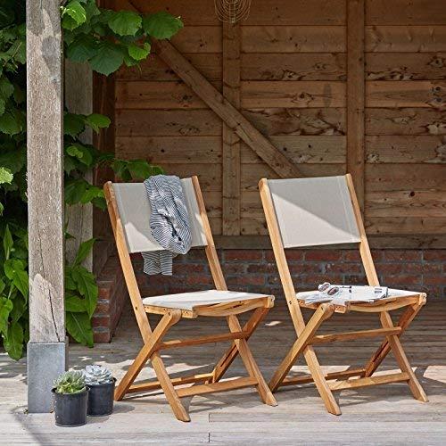 Lot de 2 chaises Pliantes en Bois d'acacia FSC et textilène
