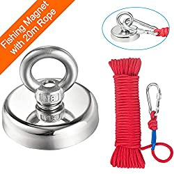 Round Neodymium Eyebolt Fishing Magnet with Rope x 66ft,Wukong Super Power N52 Pulling Force 290LB(132KG) Diameter x 60mm Thick x 15mm for Magnet Fishing and Salvage in River