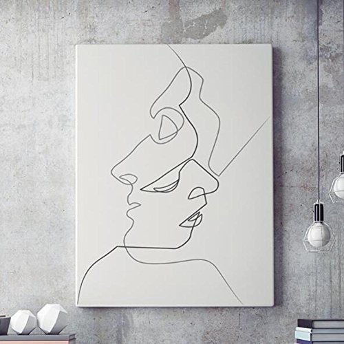 K Pintura de Pared Impresión de Moderna de Lona Arte Decoración Salón Oficina Regalo - beso, dibujo lineal abstracto D235 , 2 , 30X40cm