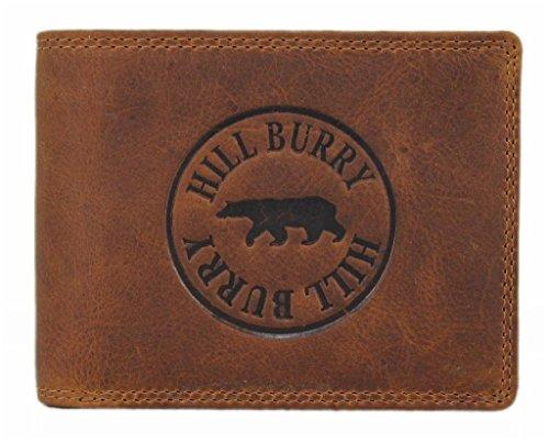 Geldbörse Herren Leder Portemonnaie Brieftasche Portmonee Geldbeutel KreditKartenetui Wallet Vintage Organizer Reisebrieftasche aus hochwertigem Echt-Leder Hill Burry Querformat braun 6404S