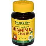 Natures Plus de 2500 UI de vitamine D3 capsules 90