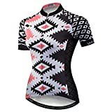 Qianliuk Donne Anti Sudore Rapida Asciutto Manica Corta Ciclismo Jersey con Tasche Fiore Stampato Cerniera Completa Vestiti da Ciclismo Mountain Bike Top Camicia della Bicicletta