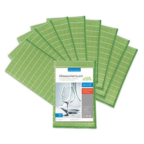 10k Faser (POLYCLEAN 10x Glas-Poliertuch - Mikrofasertuch mit Bambus-Fasern für streifenfreie Gläser, Fenster und Spiegel - Trockentuch für eine schlierenfreie Reinigung (60 x 40 cm, Grün, 10 Stück))