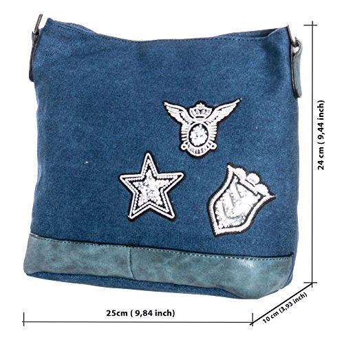 Damen Schultertasche klein mit Stern Patches Canvas umhängetasche canvas damen TUC07 jeansblau 07A
