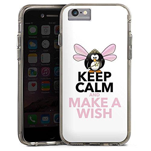 Apple iPhone 6 Bumper Hülle Bumper Case Glitzer Hülle Keep Calm Phrases Sprüche Bumper Case transparent grau