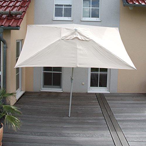 Alu Sonnenschirm Gartenschirm N23, 2x3m, rechteckig, neigbar, rostfrei ~ creme