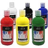 Artina 6er Crylic Acrylfarben Set als hochwertige Künstler-Malfarbe in 500 ml Flaschen für Keilrahmen & mehr