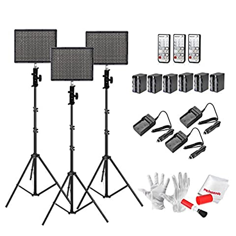 Emgreat® Aputure Amaran HR672S 672 Led Video Light Panel Led Studio Lighting Kit with 2.4G FSK Wireless Remote Control, Battery Pack and Pergear Clean Kit (SSS)