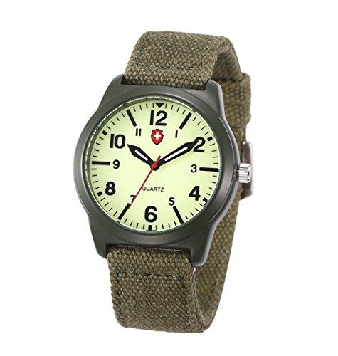beiläufiger Sport-Unisexuhr mit grüner Leinwand bequem Band Art und Weise arabische Ziffern Herren-Uhr (Arabische Art)