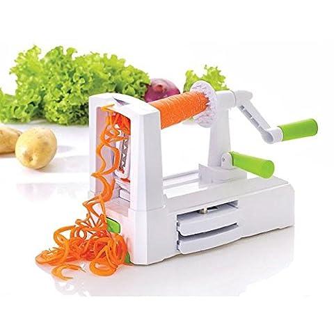 Légumes de Chef–Tri-Blade Trancheuse spirale Coupe-légumes spirale Ensemble complet–Coupe légumes Best–Courgettes Pâtes Machine à nouilles à spaghetti avec éplucheur à légumes