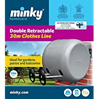 Minky Retractable Reel Washing Line - Double retractable line - Indoor washing line outdoor washing line - Ideal for gardens balcony washing line