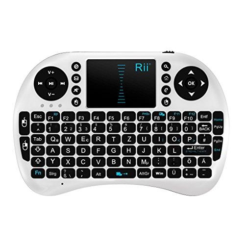 Rii i8 2.4GHz Wireless Kabellose Mini Tastatur (92 Keys DE QWERTZ)Ergonomische mit Touchpad-Maus und Ersatz Wiederaufladbare Li-ion Batterie für Smart TV, Raspberry Pi,Mini PC, HTPC, Computer und Konsolenspiele MacOS,Linux, Android,XBMC,Windows 2000 XP Vista 7 8 (Rii i8 Weiß)
