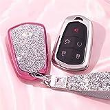 YSKDM Autoschlüssel Fall Autoschlüsselanhänger Halter Fall Abdeckung Etui Shell mit Schlüsselanhänger & Schlüsselringe für 5 Tasten Neue Cadillac ESV Escalade GTS Cts XTS, Stil 2