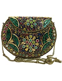 Ethnic Clutches,cross Body Bags,Bridal Bags,Metal Bags, Mosaic Clutch,Ethnic Wallet, Women,Girls Metal Purse,sling...