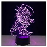 Luces de la Noche de Illusion 3D, Alien Modern LED Mesa de Escritorio Lámparas 7 Colores Cambio de Touch Switch de iluminación de Carga USB Dormitorio Inicio Lámpara Decorativa