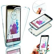 LG G4 Stylus Funda de Silicona Delantera + Trasera Doble 100% Transparente, Vandot Ultra Slim Claro Carcasa 360 Grados Protección Smart Case Cover Dual Layer Full Body Shockproof Anti Choque Protective Funda para móvil LG G Stylo / LG G4 Stylus LS770 - Azul