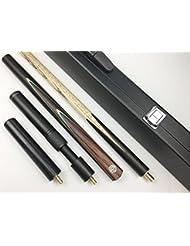 """Ash 57""""hecho a mano 3/4Pieza Snooker Cue, 6"""" miniculata y extensión, negro o blanco funda de piel, LANCER YP., negro"""