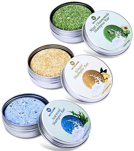 OCYCLONE Haar Shampoo Bar, Ingwer Seetang und Pfefferminz Kamille Haarseife zur Haarwuchsförderung, Anti Schuppen und Öl-Kontrolle, Vegan Natürliche Bio Pflanzliche Festes Shampoo, 3 PACK -