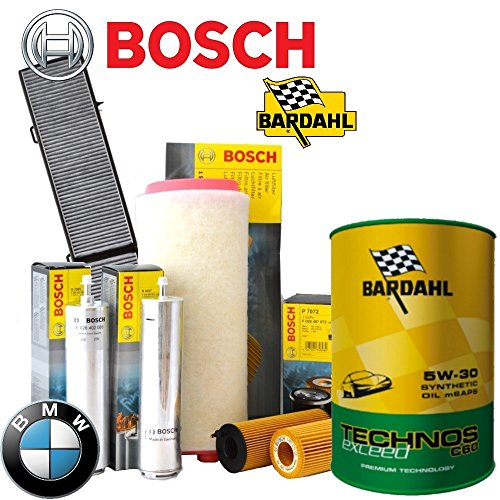 Kit tagliando olio BARDAHL TECHNOS C60 EXCEED 5W30 8LT+4 FILTRI BOSCH BMW 525D 530D E60 - E60 Filtro Olio Kit