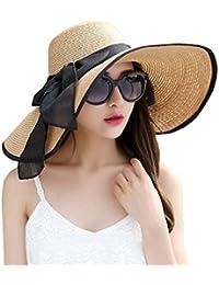 DRESHOW Floppy Beach Hat for Women Large Brim Straw Sun Hats Roll up  Packable UPF 50 19173a952d68