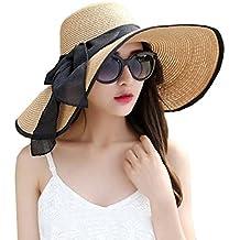 DRESHOW Cappello Floscio Spiaggia per le Donne Grande Bordo di Sun Della  Paglia dei Cappelli Arrotolare dc4244b20e26