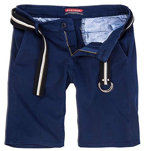 Rock Creek Herren Chino Shorts Hose Kurz Chinoshorts Inkl Gürtel Männer Sommer Bermuda Stretch Rc-2133 36 Navy (36 Gürtel Herren)