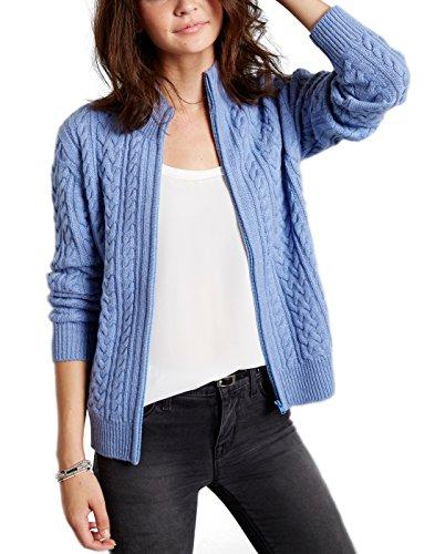 Invisible world cardigan invernale maglioncino donna in puro cashmere aperto davanti con zip 3 strati girocollo katy - blu celeste m