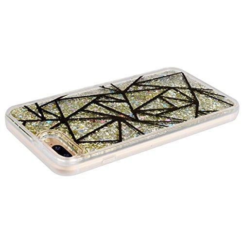 SMART LEGEND iPhone 7 Plus Weiche Silikon Bumper Liquid Hülle Glitter Transparent Hart Rückseite Schutzhülle mit Platz Bunt Bling Muster Fließen Flüssig Schwimmend Premium Shiny Glanz Sparkle Bling Ta Wellenlinie Bunt