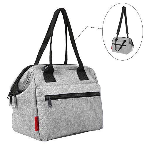 esonmus Kühltasche,Lunch Tasche Lunchtasche Wasserdicht Leichte Picknicktasche Mittagessen Isoliertasche Thermotasche für Arbeit und Schule, Grau 10L
