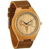 WONBEE Herren Bambus Holz Uhr Japanisches Analog Quarzwerk Uhren aus Holz mit Echtem Leder Armband - Hirschkopf Design wbbd002