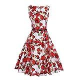Lauzal 50s Retro Vintage Rockabilly Kleid Cocktailkleid Knielang Blumenprint Partykleid mit Gürtel Gr:-M, Farbe:-Weiß-rose