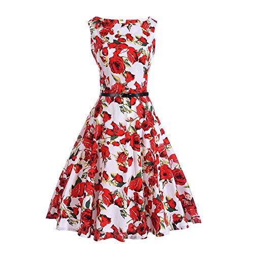 Lauzal 50s Retro Vintage Rockabilly Kleid Cocktailkleid Knielang Blumenprint Partykleid mit Gürtel...
