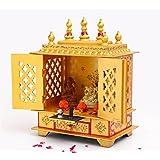 Handpainted Wooden Hand Painted Mandir with door, Golden Temple for Home