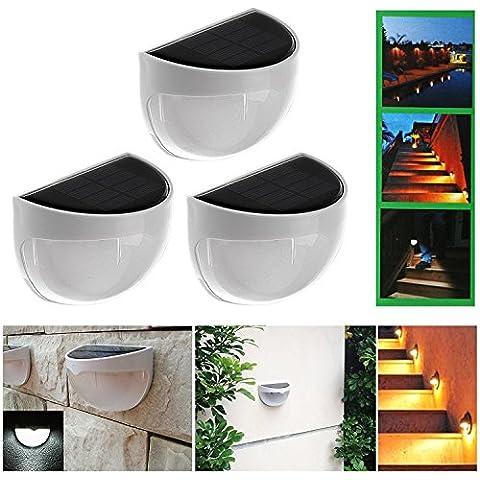 LeaningTech 3 paquetes ahorro de energía solar Desarrollado eficiente LED brillante práctico Cerca Canaleta del tejado yarda del jardín al aire libre pared de la trayectoria de luz de lámpara hemisférica