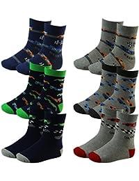 6er Pack Kinder Jungen Socken mit Rennauto Motiv mehrfarbig