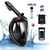 Vaporcombo à 180° Full Face gratuit respiration Motif Tuba Masque de plongée masque de plongée avec GoPro logement, NewBlack