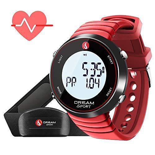 Dreamsport Pulsómetro, reloj de monitor de ritmo cardíaco con correa de pecho y cronómetro/alarma/contador de calorías/7 días de memoria/BMI/30 m resistente al agua, 088-Red
