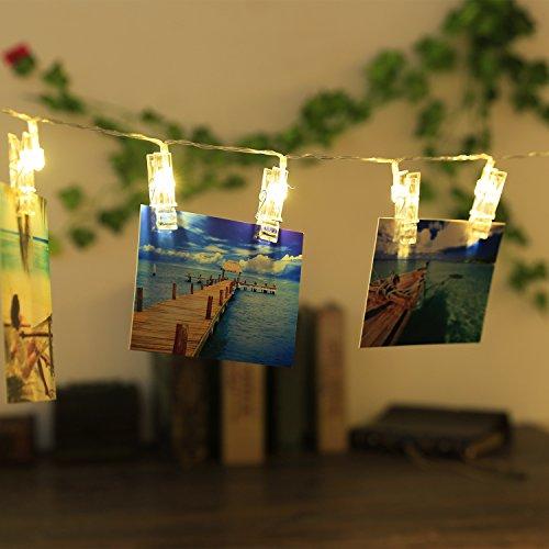 NEWSTYLE Foto-Clips LED 30-Pack mit Schnurseil gratis als Geschenk Led-Art-Clips am besten für Fotos, Karten, Memos, Kunstwerke und Geburtstagsfeiern von Homo Trends (Warm White)