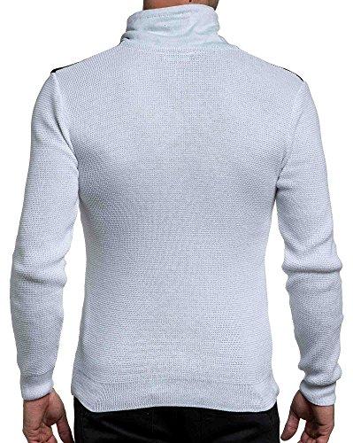 BLZ jeans - weißen Pullover und schwarz stylish man zip Hals Weiß