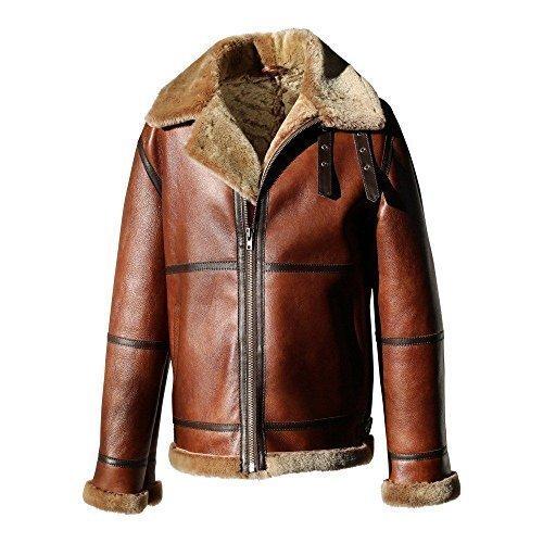 Hollert German Leather Fashion Bomberjacke - B9 Herren Lammfelljacke Winterjacke Größe 4XL, Farbe Model 6 - Kastanie/Cappuccino