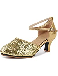 f227eb5ea18 ... Women s Shoes   Mary Janes   Gold. OCHENTA Womens Sequined Leather  Pointed Toe Kitten Heel Latin Ballroom Dance Shoes