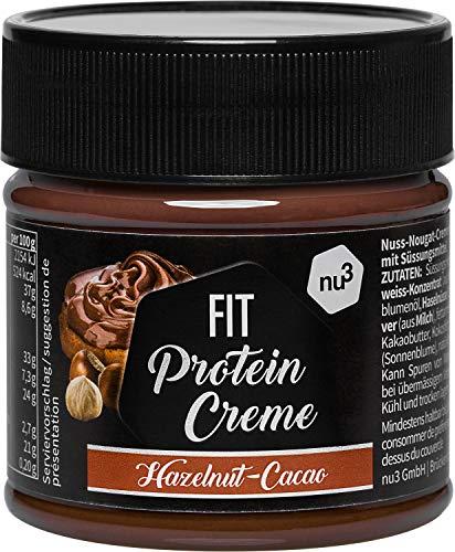 nu3 Fit Protein Creme - 200g Schokoladenaufstrich mit Haselnüssen, Kakao & Whey - ganze 21{0ebc1e670243e5456254860cfe1e8edda86efb3ef44b049d79c502a628b14bae} Eiweiß - ohne Zusatz von Zucker - alternative zu Schoko-Creme aus dem Supermarkt - Glutenfrei & ohne Palmöl